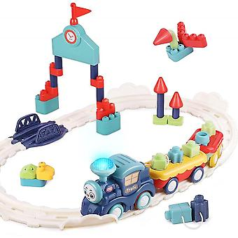 Musical Train Set Toys, Toddler Electric Railway Toy Train W/ Track