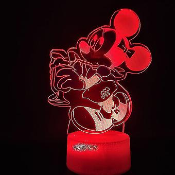 ميكي 3D مصباح ليلة صغيرة ملونة أدى مصباح طاولة الزخرفية ميكي ماوس مع بالون