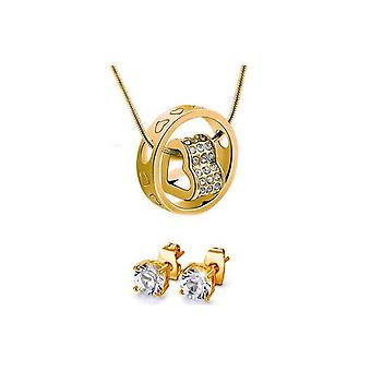 Duo Heart Charm Jewelry Set With Crystals From Swarovski-Gold X1,RoseX2,SilverX3