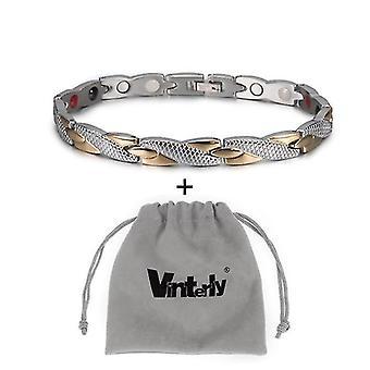 Health Energy Bracelet Male, Cross Stainless Steel, Magnetic Men Gold-color(Sg Bag)