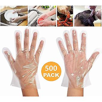 500 Pieces Plastic Disposable Food Prep Gloves,disposable Polyethylene Work Gloves [one Size ]