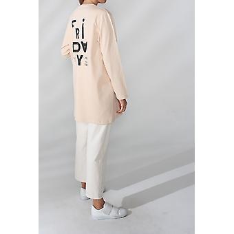Printed Combed Cotton Sweatshirt Tunic