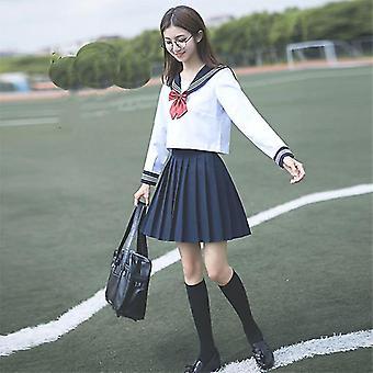 School Uniform Cosplay Graduation Top Skirts Collar & Socks Set
