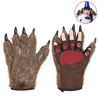 Cat Claw Bear Paw Guanti invernali senza dita in peluche 1pair
