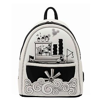 Loungefly Mini Backpack Steamboat Willie Music Cruise ny officiell Disney White