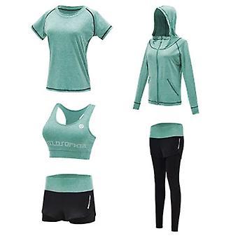 Women: n 5kpl jooga puku naisten workout asu urheilupuvut käynnissä lenkki kuntosali collegepuku Naisten activewear asettaa urheilu jooga fitness vaatteet