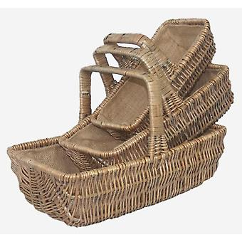 Wicker Rectangular Garden Basket Trug set of 3