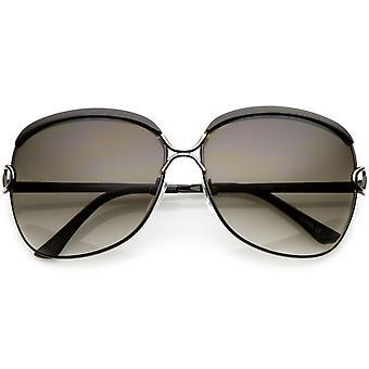 Women's Oversize Metal Square Sunglasses Unique Nose Bridge Neutral Colored Lens 63mm