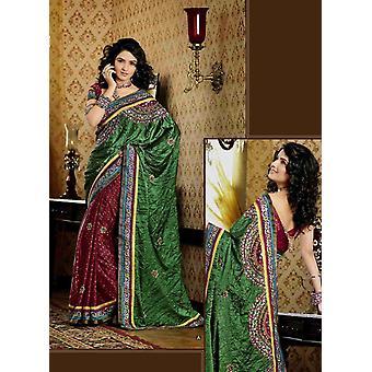 Chhavi Green Faux Crepe Luxury Party Wear Sari saree