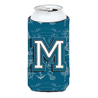 Letter M Sea Doodles Initial Alphabet Tall Boy Beverage Insulator Hugger