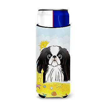 Japanese Chin Summer Beach Michelob Ultra beverage Insulator for slim cans