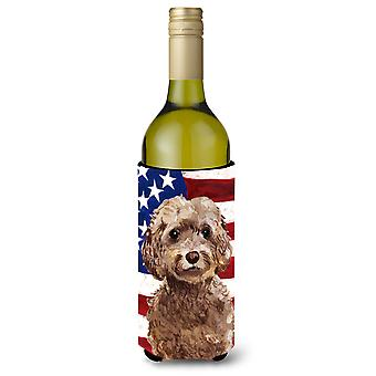 Brown Cockapoo Patriotic Wine Bottle Beverge Insulator Hugger