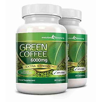 Green Coffee Bean Pure 6000mg met 20% CGA - 180 Capsules (2 maanden) - Fat Burner en Antioxidant - evolutie afslanken