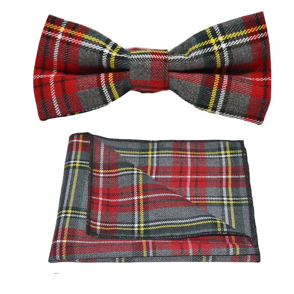 Traditional Light Grey & Red Tartan Bow Tie & Pocket Square Set, Check, Plaid
