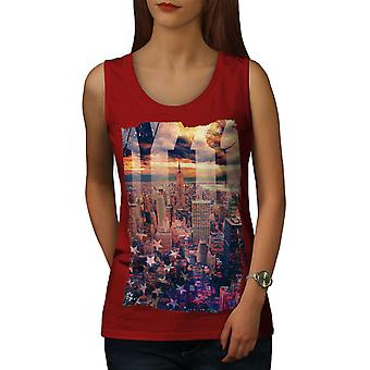 Maisema kuva New York naisten RedTank Top | Wellcoda