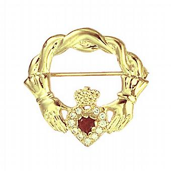 9ct Gold 28x30mm twisted cord top Claddagh Brooch set with Garnet and CZ's