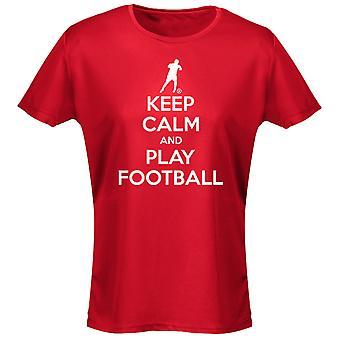 Hålla lugn och fotboll dam T-Shirt 8 färger (8-20) av swagwear