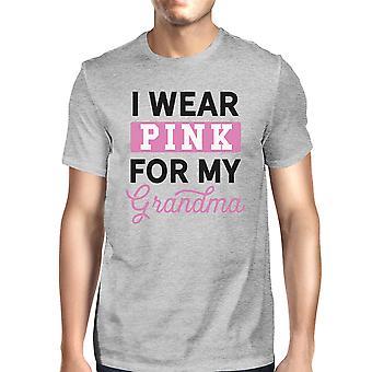 Käytä vaaleanpunainen mummo miesten rintojen syövän tuki t-paita harmaa