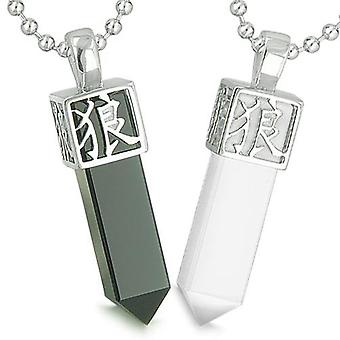 Amulette Liebe Paare Beste Freunde Reversible magische Kanji Wolf Pfote Yin Yang Onyx Katzen Auge Halsketten