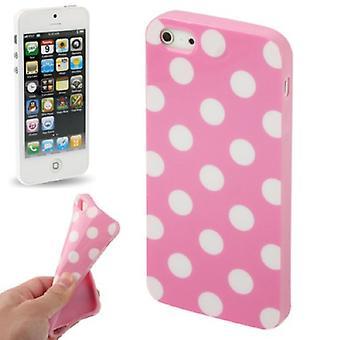 TPU backcover housse pointillé pour téléphone mobile Apple iPhone 5 / 5s rose / blanc