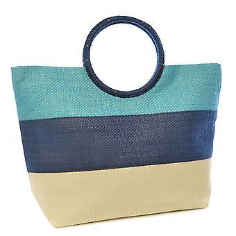 Womens sommer Stripe Design papir halm Tote-Shopping Ring håndtak stor pose