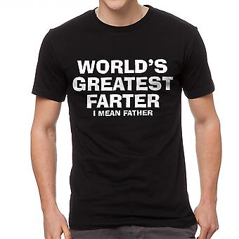 Funny World's Greatest Farter Father Graphic Men's Black T-shirt