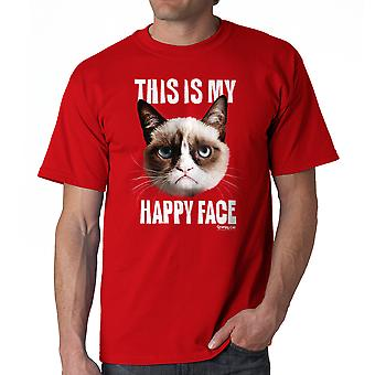 Rode T-shirt van Grumpy Cat Happy Face mannen
