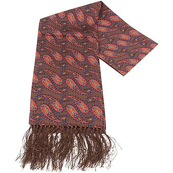 Knightsbridge Neckwear Paisley Silk Scarf - Brown/Orange