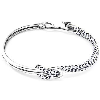Anchor and Crew Tay Silver and Rope Bangle - White Noir