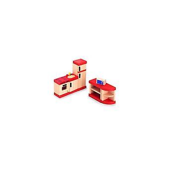 Pintoy cuisine rouge pour maison poupée