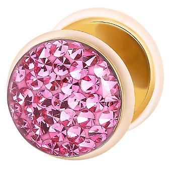 Falske snyder øret Plug Guld belagte, ørering, krop smykker, med Multi krystal Pink