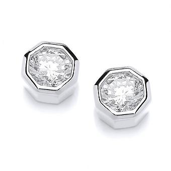 Cavendish francese argento e zirconi ottagonale Stud Earrings