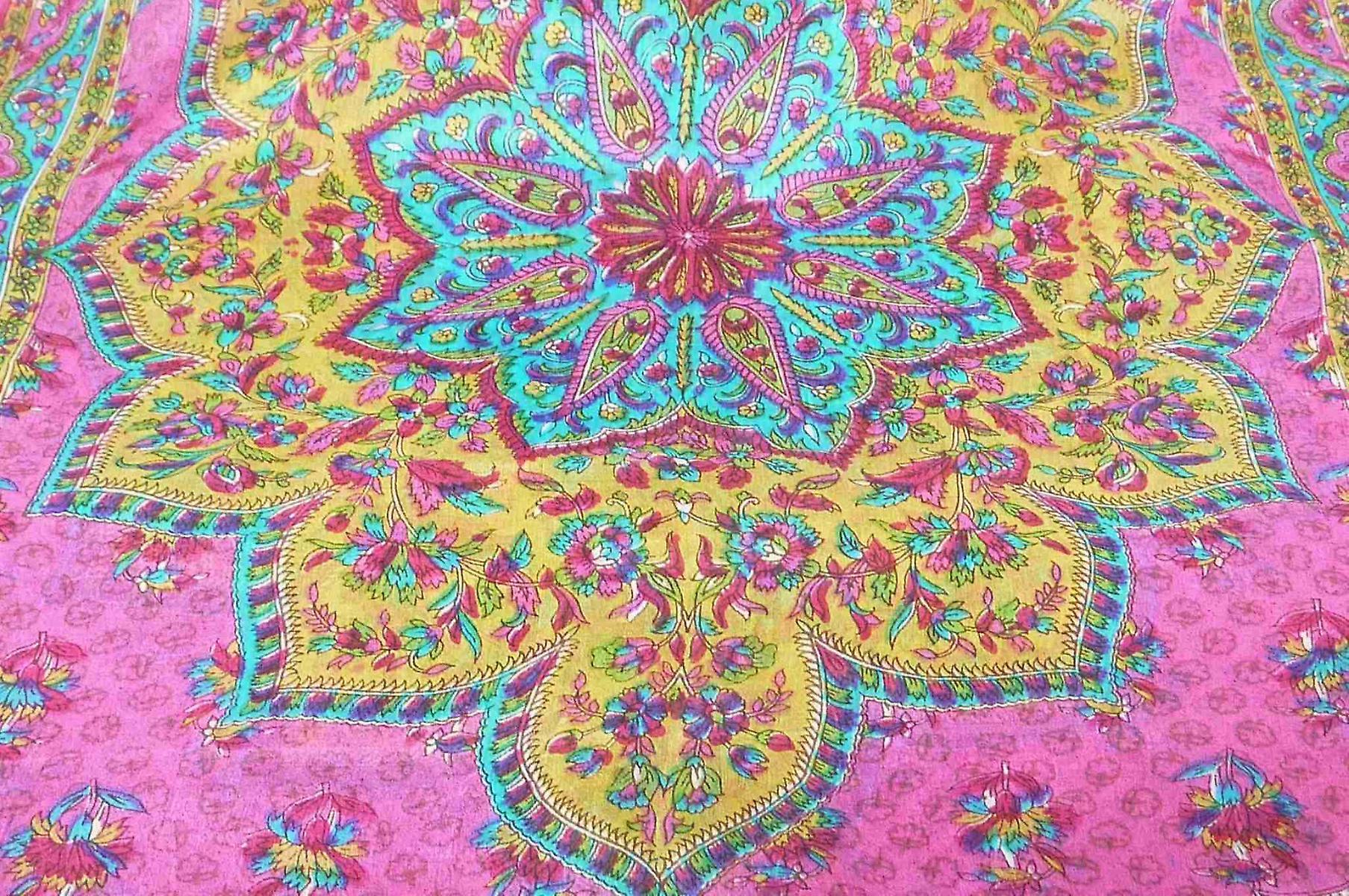 Mulberry Silk Traditional Long Scarf Kali Pink by Pashmina & Silk