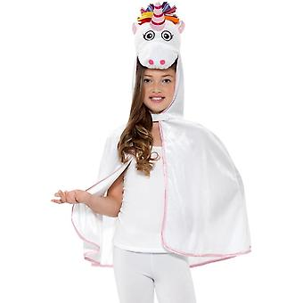 Unicorn Cape White & Pink, Children's Animal Fancy Dress, One Size