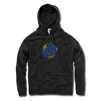 Womens Hoodie - Earth Peace Map