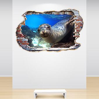 Voller Farbe Seal Seelöwen zerschlagen 3D-Effekt Wand Wandaufkleber