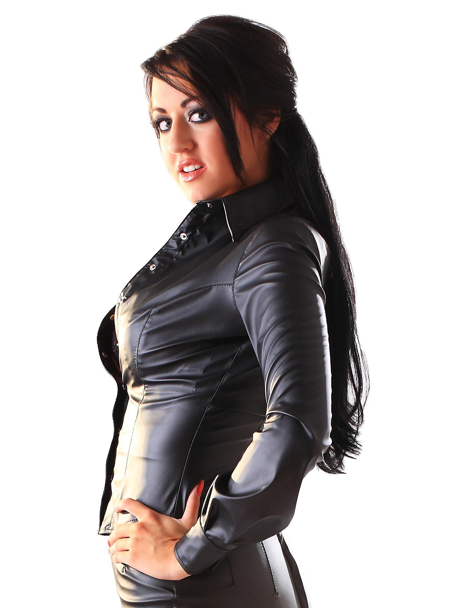 Honour Women's Sexy Shirt in Leather Look Black Shaped Hem Top Trimmings