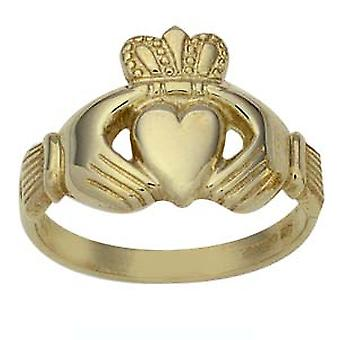 9ct Gold gents Claddagh Ring Size Z