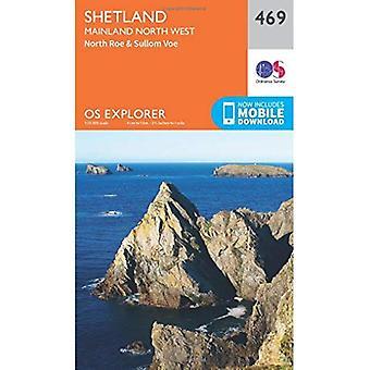 OS Explorer Mapa Shetland (469) - kontynentu północno-zachodni