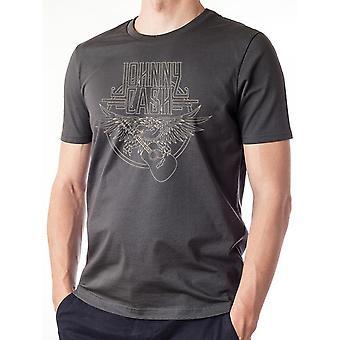 Johnny Cash Unisex Adults Outline Eagle Guitar Design T-shirt