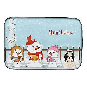 Hyvää joulua carolers Shih Tzu musta valkoinen lautasen kuivaus matto