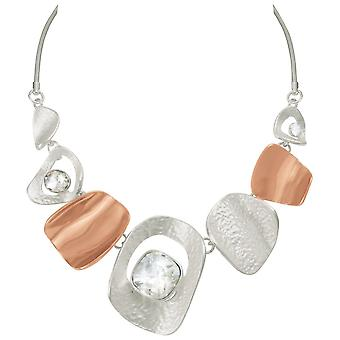 Eternal Collection Tantalising Silver And Rose Gold Tone Crystal Statement Necklace