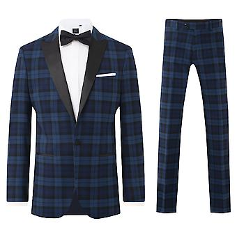 Dobell Mens Blue 2 Piece Tartan Tuxedo Regular Fit Contrast Peak Lapel