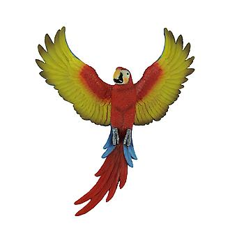 14.75 Inch Macaw of Majesty Tropical Parrot Wall Hanging Decor Resin Art Sculpture Home and Garden Decoration