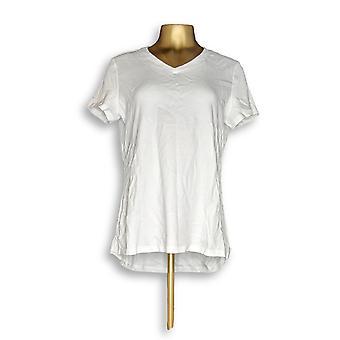 Isaac Mizrahi Live! Damen's Top Essentials V-Ausschnitt Weiß A286116