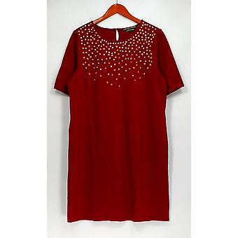C. Wonder Dress Ponte Knit Jewel Embellished w/ Back Button Red A284188
