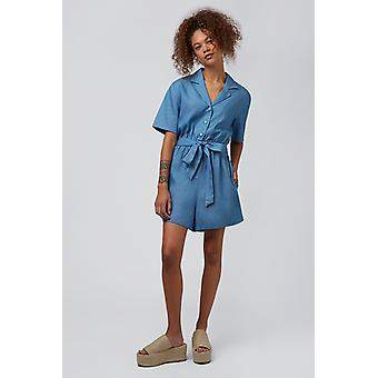 Louche Loeiza Revere Collar Playsuit Chambray