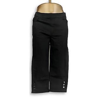 Susan Gravir Donne 's Pantaloni Allungare Twill Button Dettaglio Nero A302648