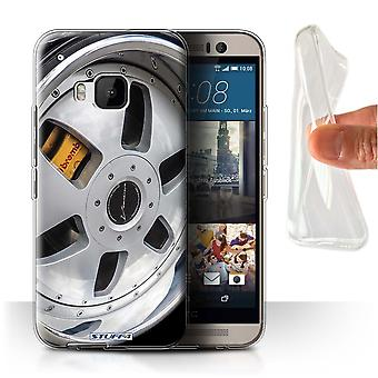STUFF4 Gel/TPU Case/Cover for HTC One/1 M9/Silver/Yellow/Alloy Wheels