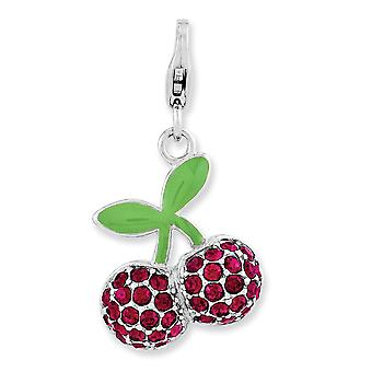 925 Sterling Silver Polido Rhodium plated Lobster Claw Closure Enameled 3 d Cerejas Com Lagosta Clasp Charm Pendant